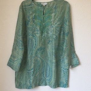 Coldwater Creak stunning silk embroidered tunic